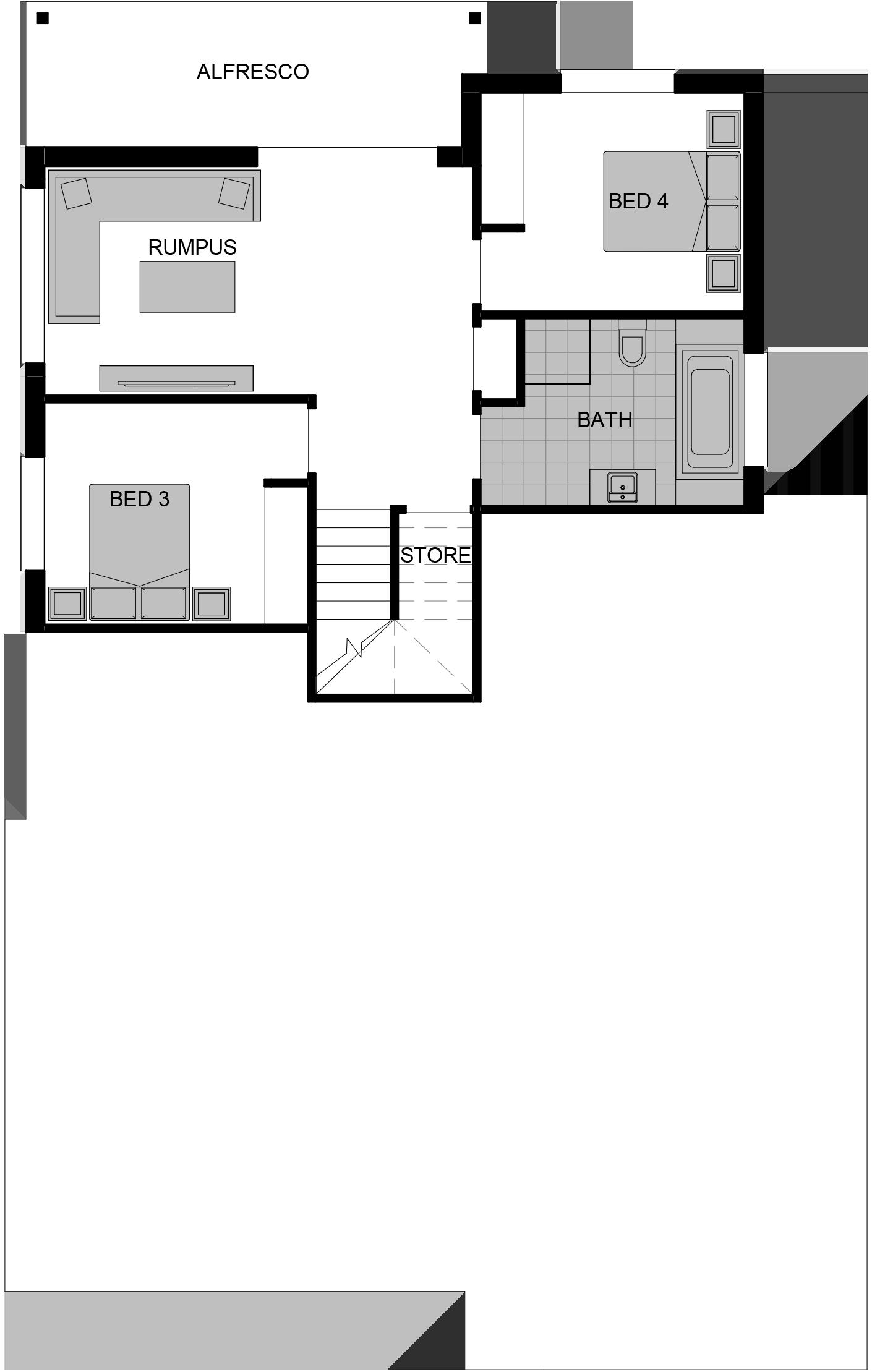 Highland 4 Shaded Plan LOWER – 11.81m x 18